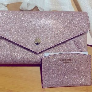 ♠️ kate spade ♠️ 2 piece set~pink glitter clutch & cardholder w/detachable chain
